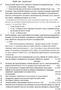 Стоимость основных процедур на приёме у доктора Ляшко А.К.